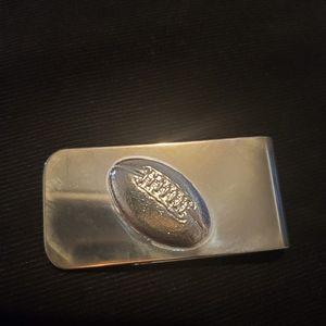 Silver tone Football Money Clip